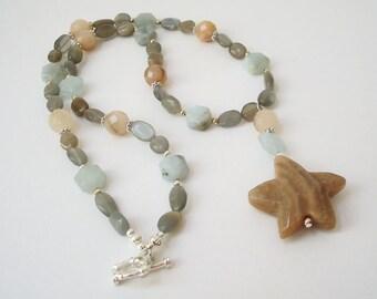 Starfish Necklace Beaded Gemstone Necklace Aquamarine Moonstone Aventurine Beach Jewelry Nature Jewelry