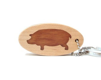 Pig Key Chain, Wood Scroll Saw Country Key Ring, Hog Keychain, Farm Animal Key Fob, Cherry