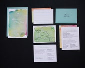 Wedding Invitation Suite / Watercolor / Colorful / Response Card + Map + Accommodations Card + Schedule / SAMPLE