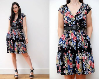 Vintage Floral Black Cotton Grunge Revival 90s Tea Dress