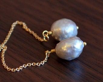 Silver Pearl Earrings, Threader Earrings, Grey Druzy Drusy Pearls, Dainty Gold Jewelry, Free Shipping