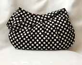 Black and White Pleated Purse - Polka Dot Buttercup Bag, Black and Red