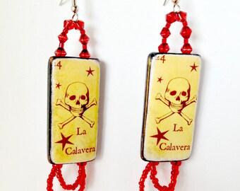 Calavera Y Estrellas - Beaded Dangle Earrings