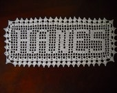 Personalize Custom Crochet Name Sign Doily Natural or White is available gift ideas doilies letters  family gifts up to 8 letters