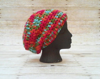 Slouch Hat, Slouchy Beanie, Rasta Tam, Slouchie Cap, Hipster Hat, Boho Hat, Multi Color