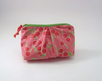 Zippered Pleated Pouch in a Red Cherry Pink Print