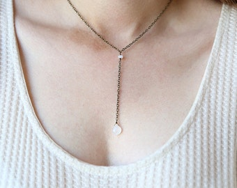 Modern Moonstone Brass Y Necklace - Simple everyday jewelry