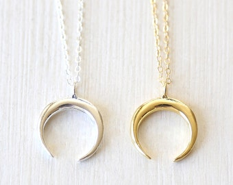 Upside Down Crescent Moon Horn Necklace // Sterling Silver and Gold // Simple Everyday Layering Jewelry