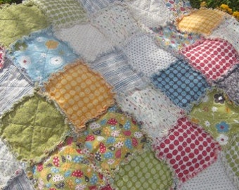 Baby/Toddler Rag Quilt...Gender Neutral...Reversible Scrappy Patchwork....Perfect Stroller and Naptime Quilt...Free Shippimg U.S.Only
