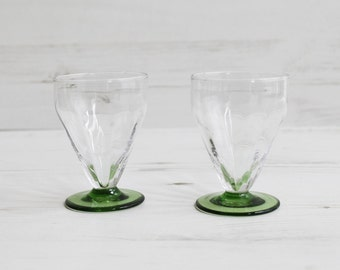 Vintage Drinking Glasses - Green Glassware Kitchenware Barware Collection