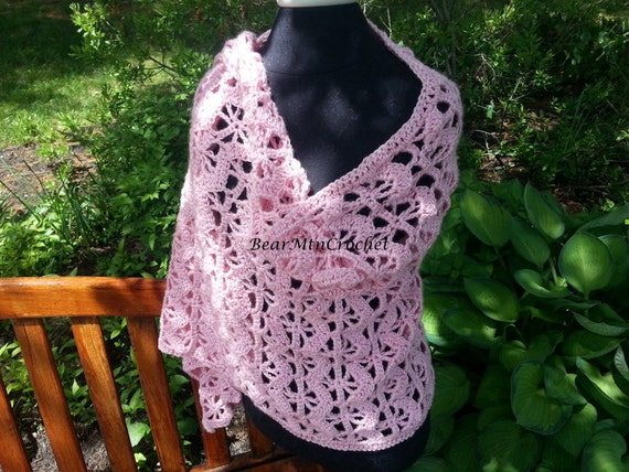 Pretty in Pink hand crocheted shawl wrap-Breast Cancer Awareness Shawl-READY TO SHIP