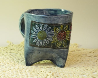 Denim Blue tripod flower mug