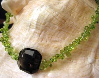 Peridot Necklace - Peridot and Smokey Topaz Necklace