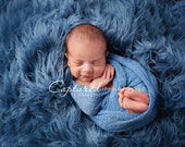 Leighton Heritage 3'x5' Soft Cozy Cuddly Blue Faux Fur Nest Newborn Boy Photography Prop Large Oversize Layer Stuffer Long Pile Faux Flokati
