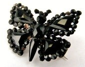 French jet butterfly brooch antique from Paris
