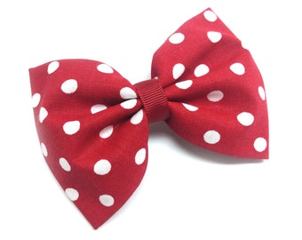 Red and White Polka Dotted Fabric Hair Bow Clip- SALE