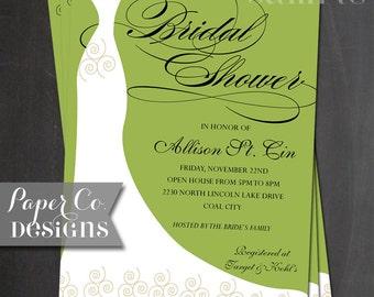 Printable Bridal Shower Invitation - Burgess Design - Digital File ONLY