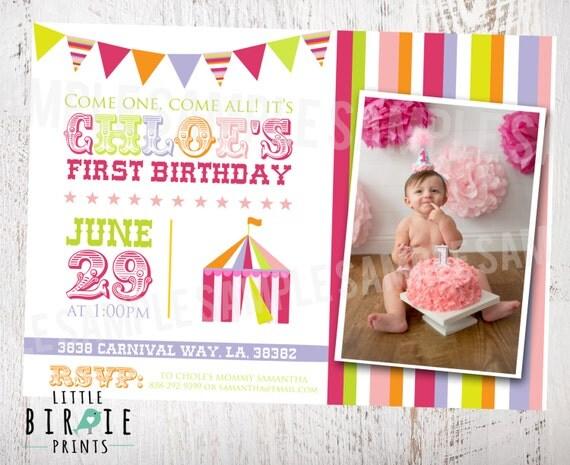 CARNIVAL INVITATION Circus Invitation - Carnival First Birthday Party Invitation - Circus Party Invitation - Girl Carnival Invitation