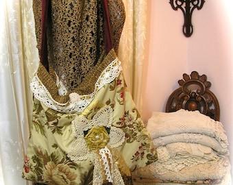 Gold Floral Bag, large handmade fabric bag, jacquard brocade bag, OOAK shoulder bag, brocade upholstery bag, LARGE