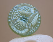 Vintage Flower Motif Pressed Glass Button, Matte AB Blue Green, 27mm, 1pc
