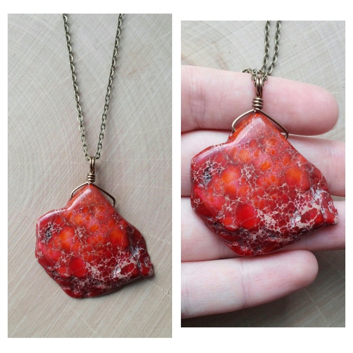 Ruby Imperial Jasper Necklace By Drunkenmermaid On Etsy