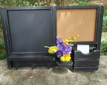 Framed Chalk Board/Message Center/Corkboard Center/ Magazine Organizer/Kitchen Message Board