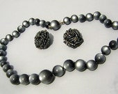 Sexy Shades of Grey Vintage 50s Moonglow Lucite Bead Necklace & Italian Knot Earring Set