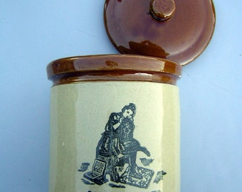 Candy Cookie Jar MOIRA Pottery England Vintage Stoneware - Heavy Crock Ware with Lid - Excellent Condition