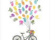 Personalized School Teacher Appreciation Gİft, Teacher Thank You Gift, Fingerprint Tree bicycle,Printable JPEG,Kindergarten Gift,End of Year