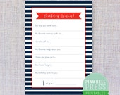 Print Your Own Birthday Wish Cards - Navy & Red - Stripes - Baby Book Keepsake - Party Game