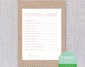 Print Your Own Baby Wish Cards - Kraft Paper & Pink - Herringbone - Baby Book Keepsake - Baby Shower Game