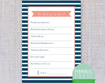 Print Your Own Birthday Wish Cards - Navy & Pink - Stripes - Baby Book Keepsake - Party Game