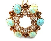 Large Rhinestone Pendant SALE Vintage 1960s Goldtone Brooch Turquoise Aqua Stones Gold Filled Chain