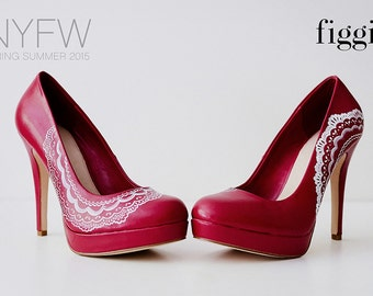 Dark Pink Hand-Painted Lace Pumps