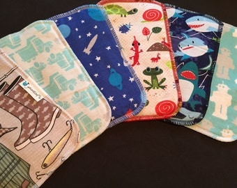 Cloth Baby Wipes, Family Cloth, Reusable Wipes, Assorted Boy Prints, Pack of 25 Cloth Wipes