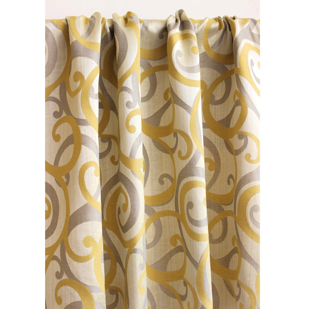Yellow & Grey Scrolls Grommet Blackout Lined Curtain In