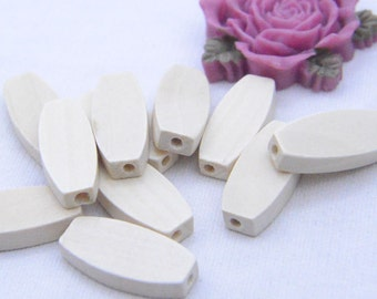 10 Unfinished Natural wood bead wooden beads Flat Oval beads raw wood beads