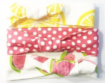 Knotted Headband - Summer Fun - Lemons Watermelons Infant Headband Jersey Headband Organic Baby Headband Baby Headwrap Knot Headband