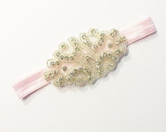 Diamond Headband - Light Pink - Statement Piece Headband - Baby Headband - Flower Girl Headband - Baby Photography - Sparkle Headband