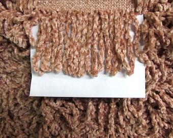 PEACH BLUSH vintage bullion chenille fringe trim 3 inch