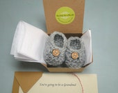 Pregnancy Reveal to Grandparents, Pregnancy Reveal, Announcement, Crochet Baby Shoes,  Optional Buttons, BOOTIES IN A BOX®,  Custom Made