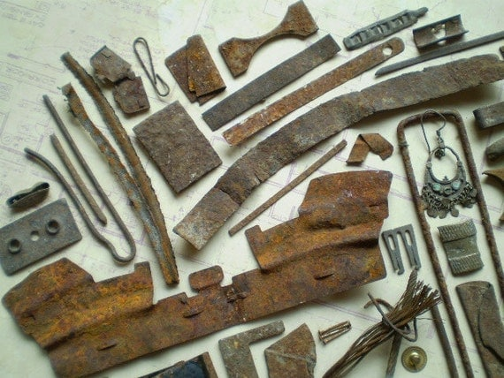 Rusty Metal Pieces Found Objects for Assemblage Jewelry or