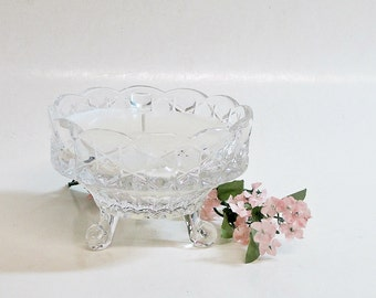 Candle in Vintage Bowl Clear Pressed Glass Vanilla