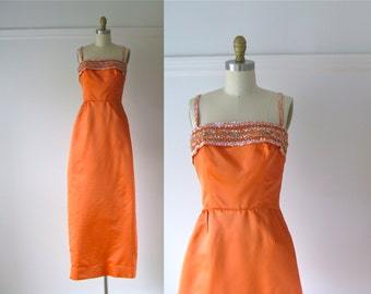 vintage 1960s gown / 60s evening dress / Tangerine Jewel