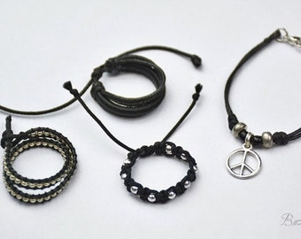 Peaceful Warior - 1/3 BJD jewelry set of 4. Sexy look, black and silver bracelet, peace necklace