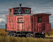 Abandoned Red Train Caboose languishing on the tracks on the Prairie No.437 Fine Art Train Railway Transportation Photography
