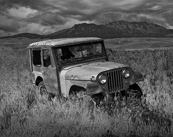Jeep Willy Wreck Abandoned in the Grass by Gardiner Montana in either Black & White or Sepia No.21482 Auto Landscape Fine Art Photography