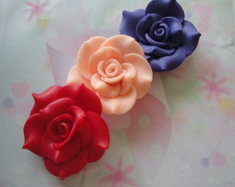 kawaii clay rose cabochons 3 pcs--USA seller