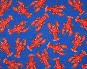 Red on Royal Small Lobster Print Pure Cotton Fabric--One Yard