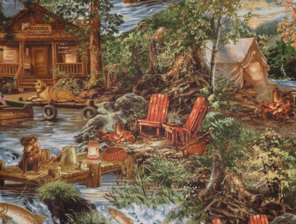 fabulous fishing and hunting cabin scenic print pure cotton